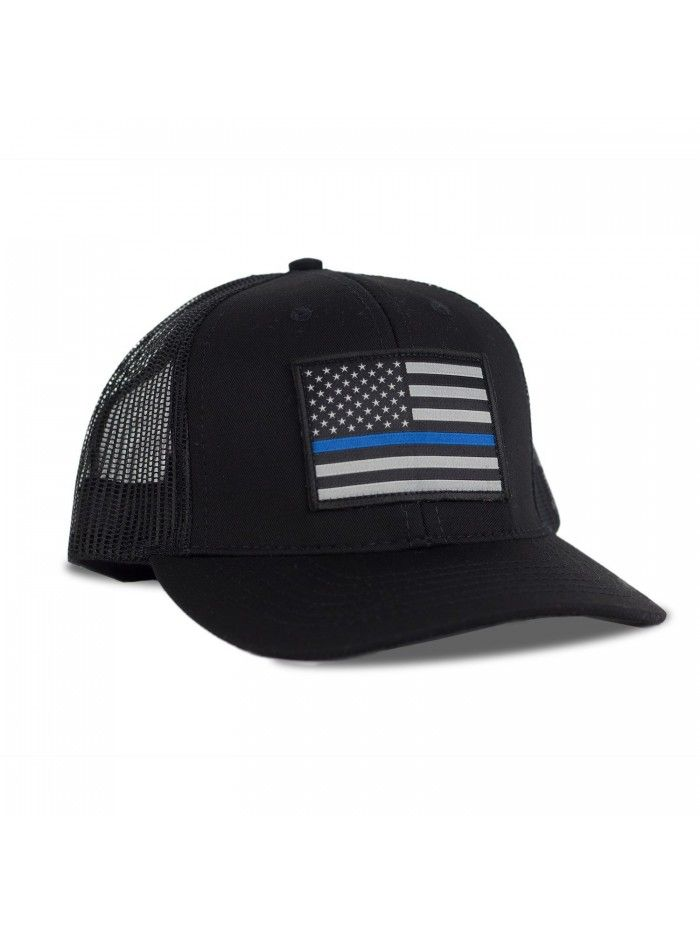 Thin Blue Line American Flag Flexfit Hat - Snapback Mesh Trucker ... d3d2bb1589c1