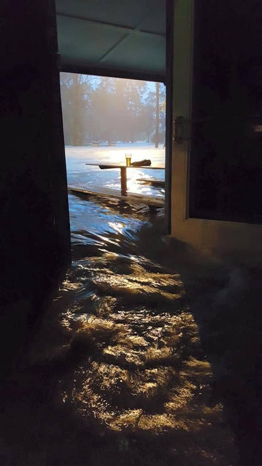 6th June 2016 Flood water rushing through the front door of George IV Hotel