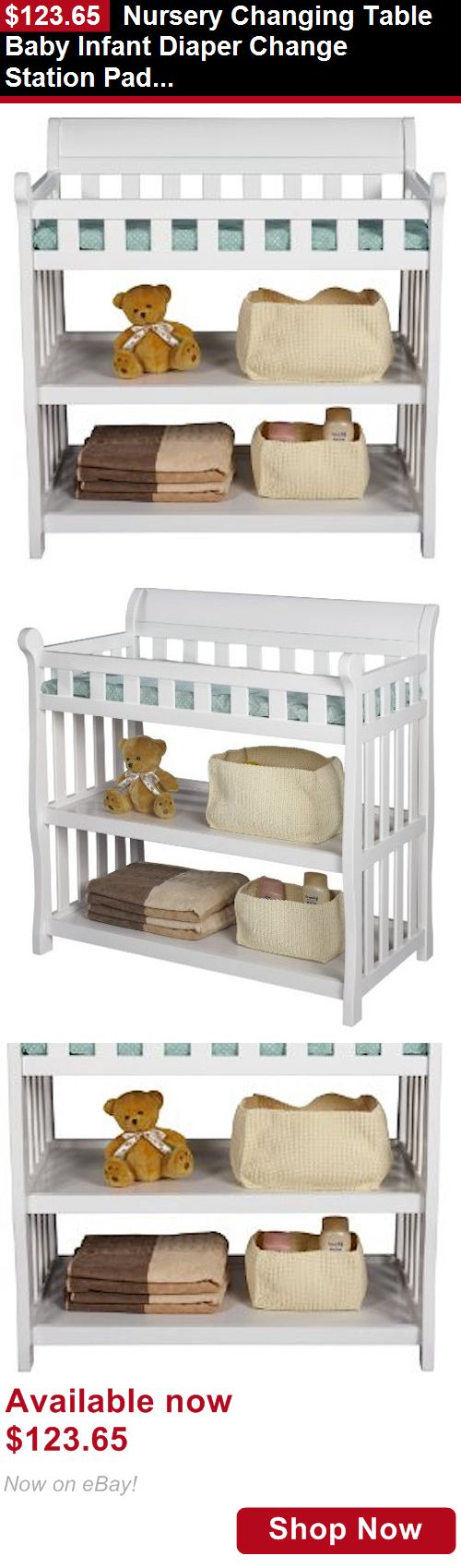 Changing Tables: Nursery Changing Table Baby Infant Diaper Change Station Pad White Furniture New BUY IT NOW ONLY: $123.65