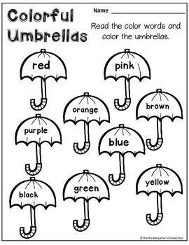FREE color word umbrellas! Part of an April themed printables pack for Kindergarten