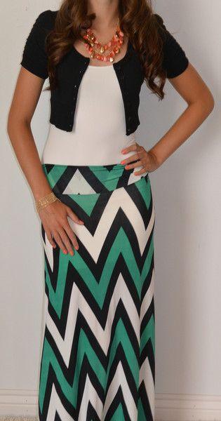 Chevron Is The New Black Maxi Skirt