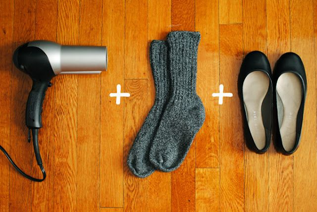 how to break in your shoes in less than 2 minutes | Put on socks  and slip on your shoes.   Aim the hairdryer on the tight section for a few seconds (wiggle and stretch your feet inside the shoe for maximum benefit). Keep the shoes on while they cool.  Remove the socks and test out shoes.  It should be stretched out, but if you need more room, then repeat the process.