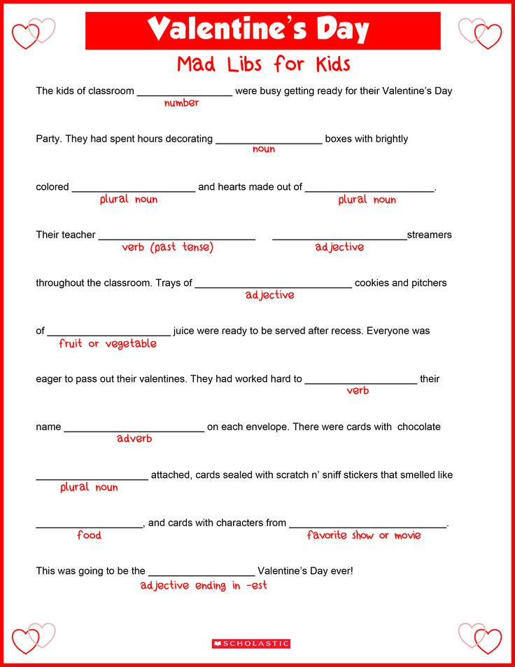 Your child will fall in love with parts of speech while filling in this Valentine's Day mad libs printable.