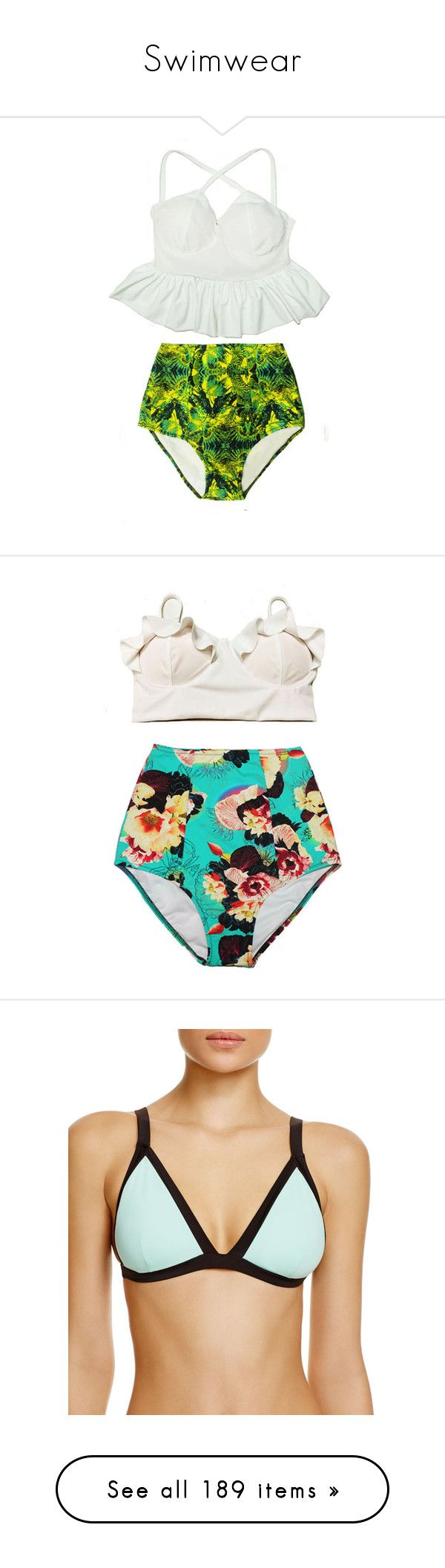 """Swimwear"" by jessie-makes-outfits on Polyvore featuring swimwear, bikinis, silver, women's clothing, retro bathing suits, peplum tankini swimsuit, white high waisted bikini, tankini bathing suits, high-waisted bikinis and high waisted bikini"