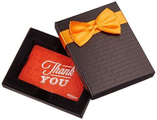 awesome Amazon.com Gift Card for Any Amount in a Black Gift Box (Thank You Icons Card Design)