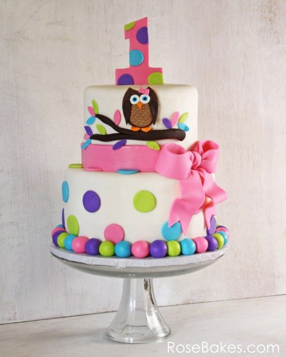 girls 1st birthday cake | ... this is the first time I've done an Owl Cake for Twins 1st Birthday