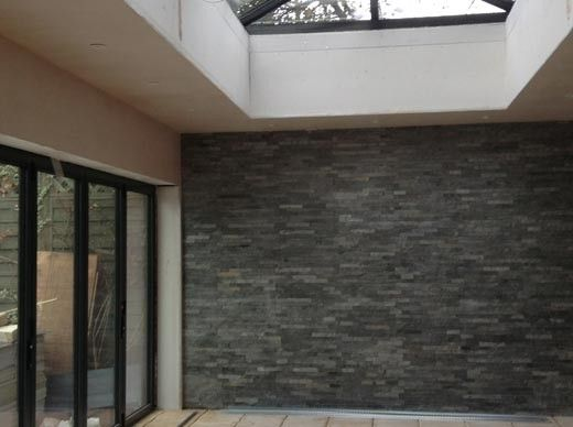 Silver Grey Split Face - Large | Customer Project - Living Room Feature Wall