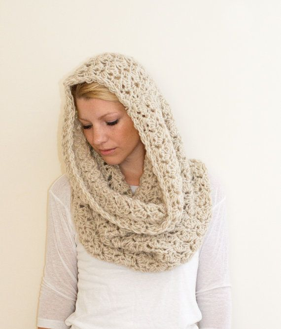 The Chunky Cowl Scarf Hooded scarf Circle Scarf - Oat/Natural - large
