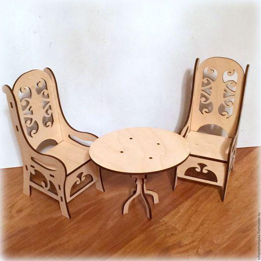 Кукольный дом ручной работы. Ярмарка Мастеров - ручная работа. Купить Стол со стульями для барби. Handmade. Бежевый, стулья