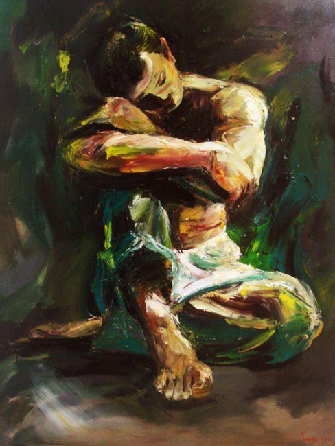 Dreaming, Acrylic on canvas, 100cm x 90cm, Artist : Aliyas