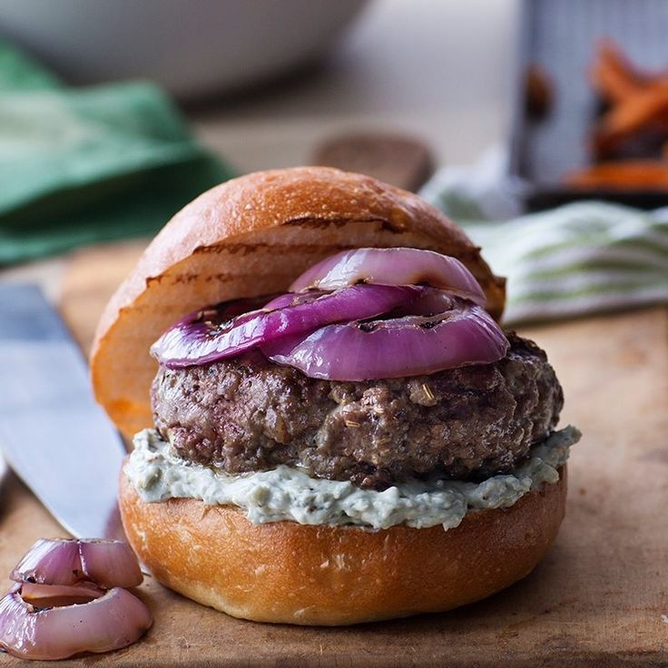 Pungent blue cheese and balsamic grilled onions are a winning combination as a topping for burgers.