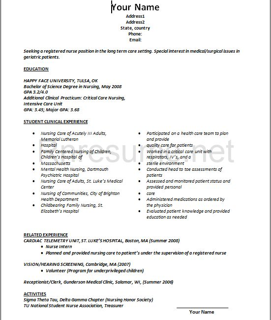 student resume template for college nursing word nurse new grad professional sample high school microsoft 2010