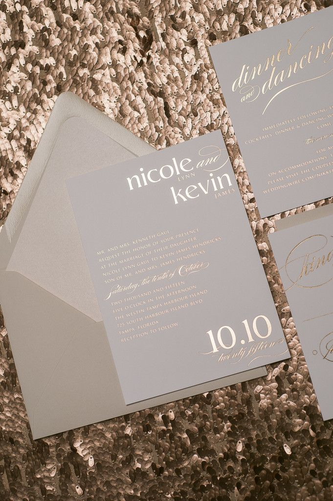 Fabulous Neutral Tone Rose Gold Foil Stamped Wedding Invitations by Just Invite Me