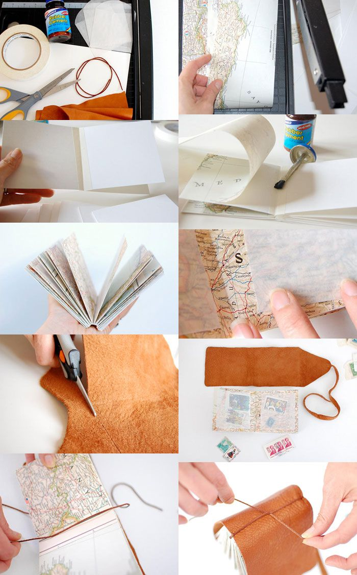 bookmaking, leather journal // diario de piel con paginas de mapa