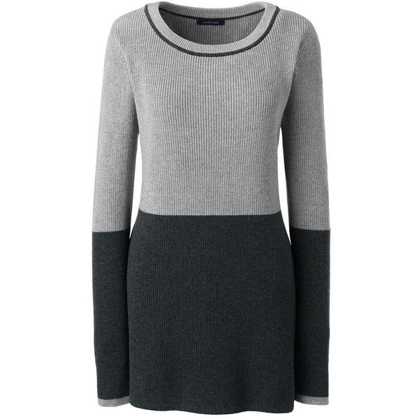 Lands' End Women's Petite Colorblock Tunic Sweater - Shaker ($69) ❤ liked on Polyvore featuring tops, sweaters, neutral, color block sweater, color block tops, petite tops, lands end tops and fine gauge sweater