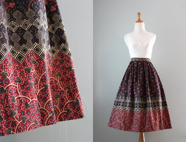 Vintage batik skirt