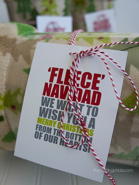 """Fleece"" Navidad tags. Tie one around a fleece blanket for a fun gift."