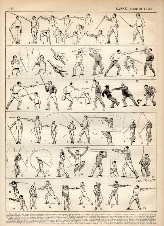 Stick-fighting, Canne de combat, Antique Print, 1897 Lithograph, Weaponry Print, La Canne Poster, Martial Arts, Bartitsu, Combat Sports