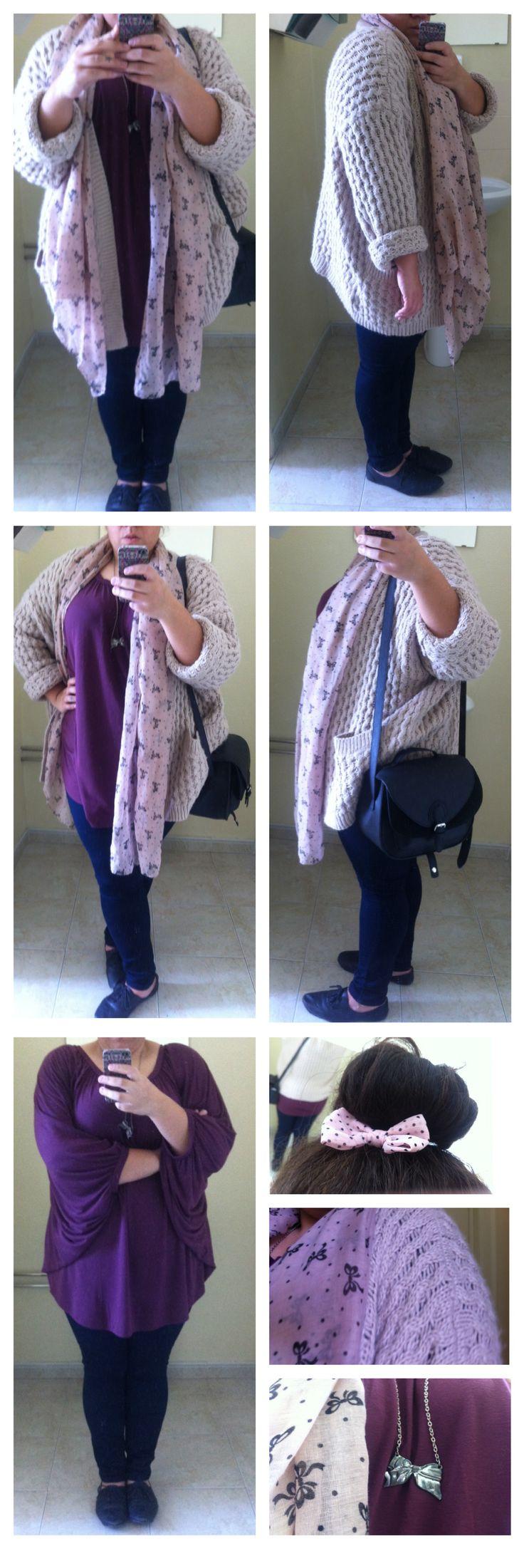 #ootd 43 #plussize  cardigan // H&M · shirt // Tezenis · jeans // Primark · scarf // Primark · bag // H&M · shoes // Primark · bow // Claire's
