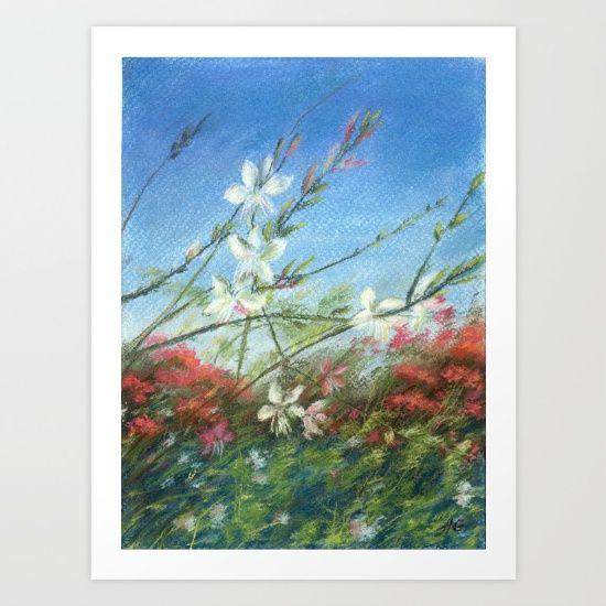 Wildflowers - blue horizon Art Print