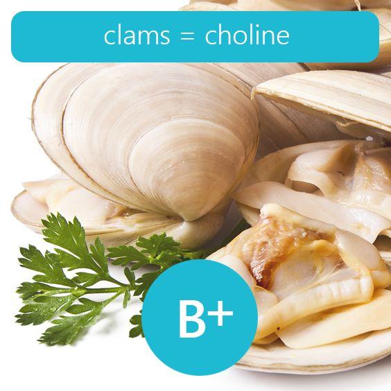 clams 107 4 aµg of choline per 100 grams b12 foodshigh