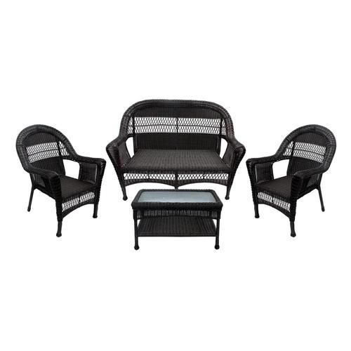 4 Piece Brown Resin Wicker Patio Furniture Set   2 Chairs Loveseat U0026 Coffee  Table Part 72