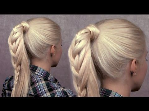 Braided ponytail hairstyle - cute everyday french braid for long hair Spring 2013 trend - YouTube