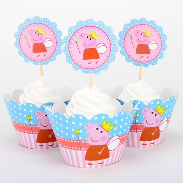 Свинка Пепа кекс обертки и ботворезы выбирает украшения душа ребенка детский день рождения поставок 12 компл./лот оптовая розовый поросенок