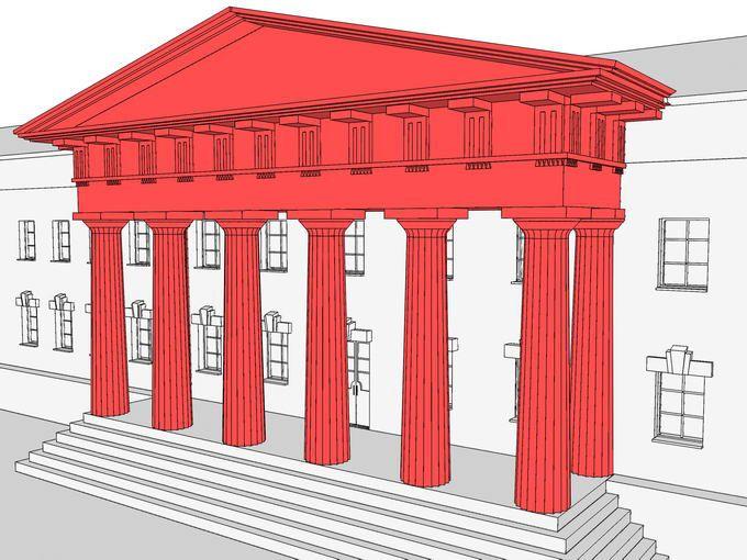 Портик – это выступающая вперед часть здания, открытая на одну или три стороны и образованная несущими элементами (колоннами, пилястрами, арками), поддерживающими перекрытие. В этой модели представлен портик греко-дорического ордера, оформляющий вход в городскую усадьбу конца XVIII века. Основными частями портика являются колонны, опирающийся на них антаблемент, и венчающий конструкцию фронтон. Вместо фронтона мог применяться аттик.