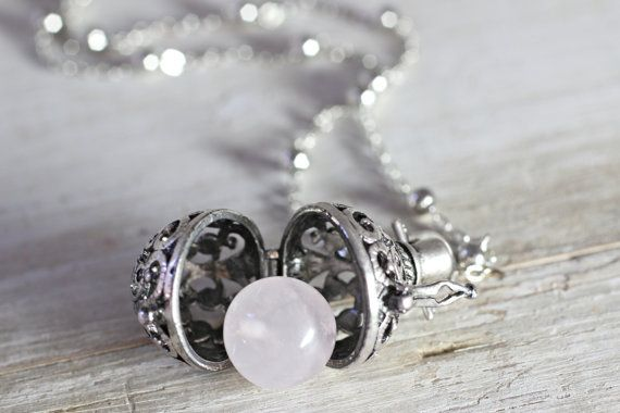 Wish Box Necklace, Attract Love Rose Quartz Necklace, Antique Silver Orb Necklace, Ball Locket, Bali Jewelry, Angel Caller, Harmony Ball on Etsy, $27.55 AUD
