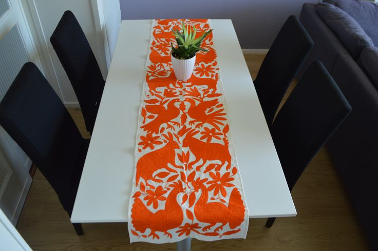 Home & Living, Bedding Sheets, & Pillowcases table runner, yellow table runner, housewares table bedding, mexican decor, Otomi Mexico,blue table runner, otomi fabric, animal print, hand crafted otomi table runner, hand embroidered, 100% natural cotton, #OtomiMexico #Eco #all natural #DecoHome  #Orange #Nederland #Loper www.otomimexico.com