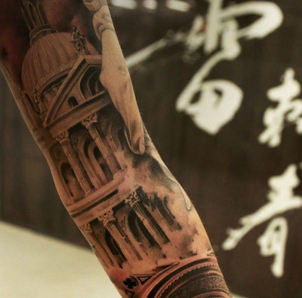 Classical Church Tattoo Design by Wang Lei