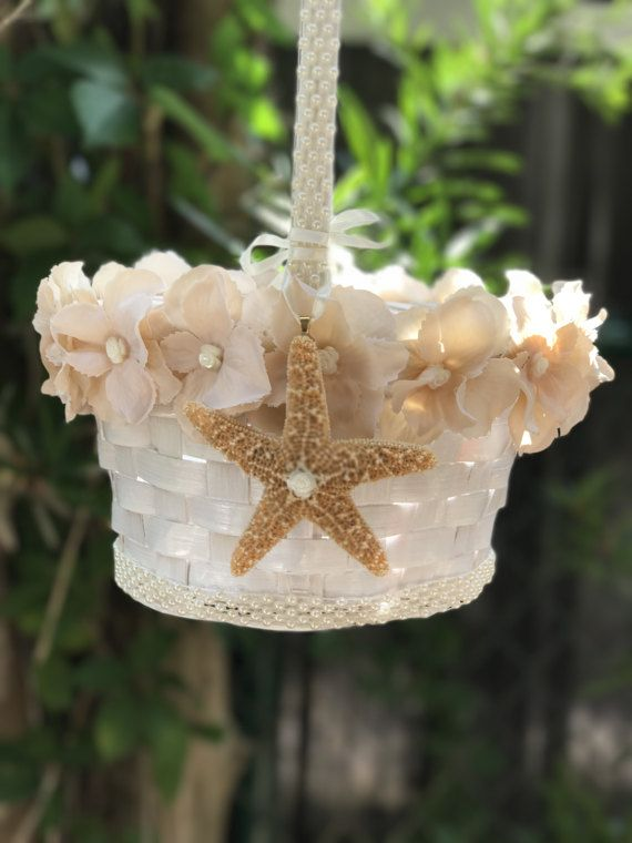 beach  flower girl basket  with starfish in by TheCrystalFlower