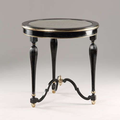 Round Table With Antiqued Black Finish, Antiqued Silverleaf Trim And  Antiqued Mirror Top; Made