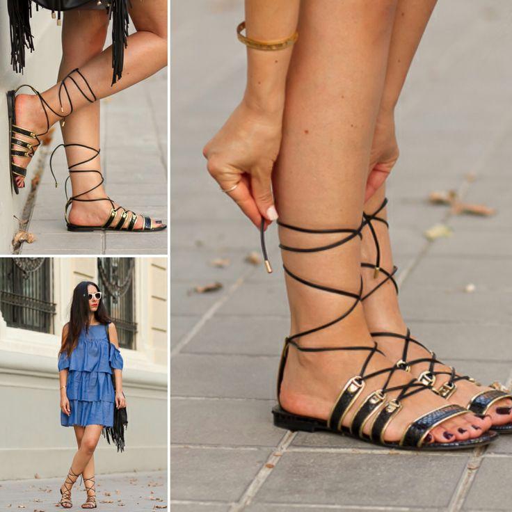 #Magrit El Blog With our without Shoes nos presenta un look con vestido de volantes cut out shoulders y nuestro modelo SALOME. http://www.withorwithoutshoes.com/2016/07/vestido-volantes-denim-Zara-sandalias-planas-Magrit.html