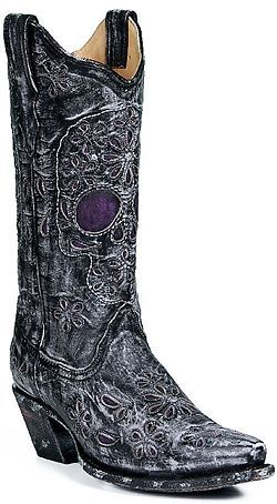 Corral Distressed Black Skull Boot with Purple Inlays