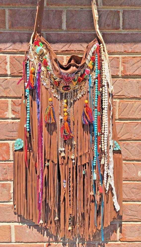 Handmade Brown Fringe Leather Upcycled Bag Gypsy Boho Festival OOAK Purse B.Joy  | eBay