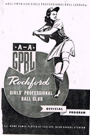Official program of the Rockford Peaches, one of the founding teams of the All-American Girls' Professional Ball Club. Probably 1944.