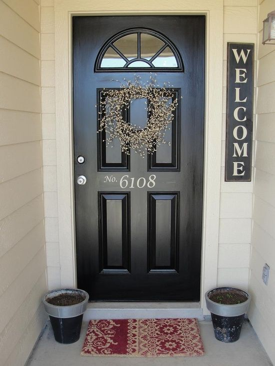 simple front door | Front Door  We need to re-do our black front door, it's faded, etc. Keep that in mind when using black on the front of your home!!!