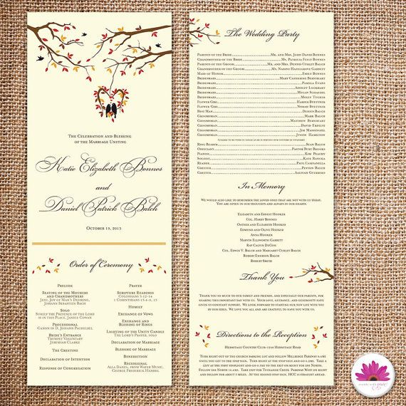 Fall Wedding Program DIGITAL FILE By EventswithGrace On Etsy