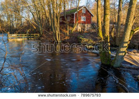 Spring flood on a small forest river near a red house in the morning sunshine. Fast moving water cascading over rocks and water far beyond the normal riverbanks. Brakne river in Blekinge, Sweden.