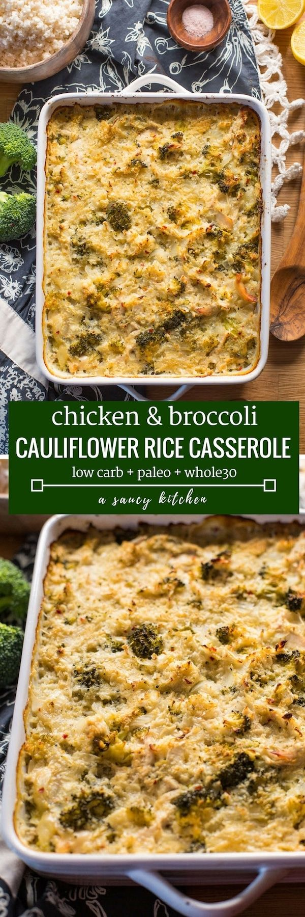 Chicken & Broccoli Cauliflower Rice Casserole - a low carb spin on a classic casserole made with riced cauliflower in place of actual rice and a dairy free sauce that's easy to whip up! | Gluten Free + Paleo + Whole30 + AIP adaptable