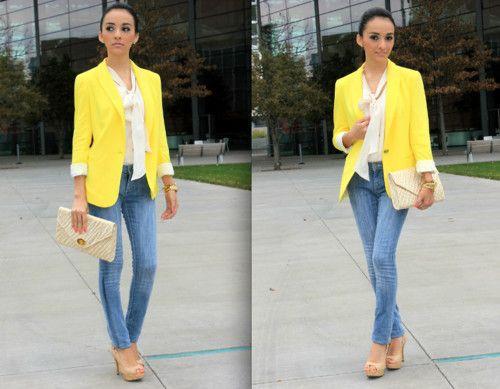 yellow blazer outfits - Google Search