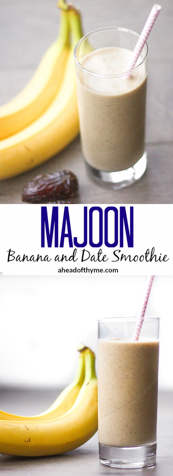Majoon (Banana and Date) Smoothie: This all-natural energy drink is made with bananas, dates and nuts. It is perfect for breakfast or a post-workout snack | aheadofthyme.com via @aheadofthyme