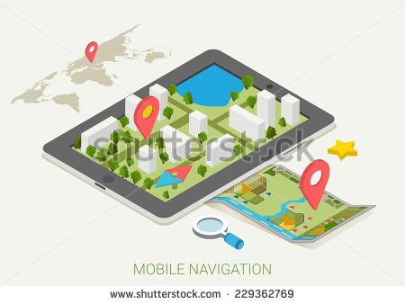 #mobile #maps, #GPS, #marker #3d #isometric #flat #vector concept