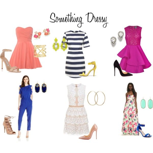 Something Dressy by lesliekerr on Polyvore featuring BCBGMAXAZRIA, Shoshanna, Ally Fashion, TFNC, Topshop, Manolo Blahnik, Office, Christian Louboutin, Sole Society and Breckelle's