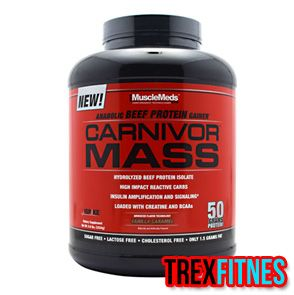 http://trexfitnes.com/musclemeds-carnivor-mass.html ...Carnivor Mass adalah satu-satunya mass gainer yang memiliki kandungan protein tinggi denagn kadar 0 gula serta 1.5gr fat...