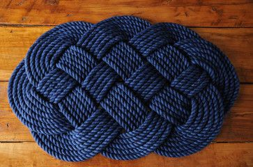 Kids bathroom. Navy Cotton Rope Bath Mat by O-Y-Knot beach-style-bath-mats