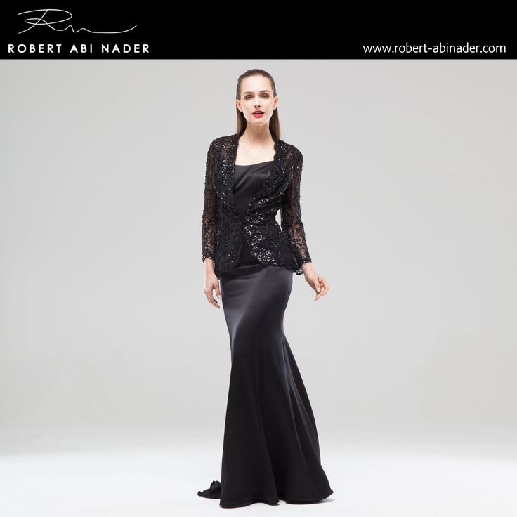 Robert Abi Nader - Ready to Wear - Spring Summer 2015 Tailored long sleeved jacket in embroidered iridescent black lace. Long mermaid dress in moroccan crepe #robertabinader #readytowear #dress #lace #black #wb #crepe #guipure #moroccan #crep #embroidered #skin #tulle #fashionista #stylish #springsummer #lebanon #paris #london #beirut #princess #beauty #beautiful