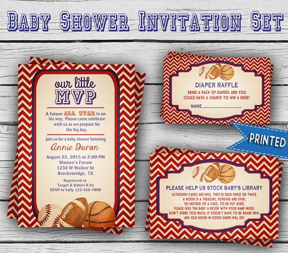 Printed VINTAGE MVP BABY Shower Invitation Set, Girl Baby Shower, Boy Baby Shower, Party, Sports Baby Shower, Printed